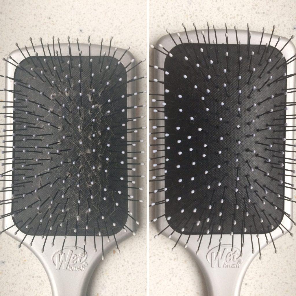 haarborstel schoonmaken voor_na